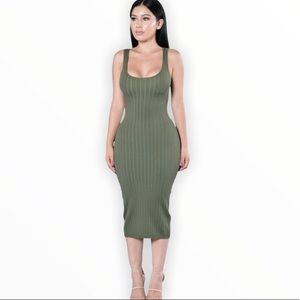Fashion Nova Olive Ribbed Bodycon Dress